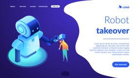 pagina isometrica di atterraggio 3D di interazione del Umano-robot illustrazione di stock