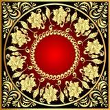 Pagina la priorità bassa con il reticolo dell'oro (en) con il fiore Fotografie Stock Libere da Diritti