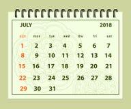 Pagina luglio 2018 verde sul fondo della mandala illustrazione di stock
