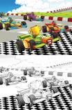 Pagina a macchina di coloritura disegnata fumetto Fotografia Stock Libera da Diritti