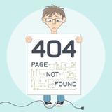 Pagina met fout 404 voor website De stijl van het beeldverhaal stock illustratie