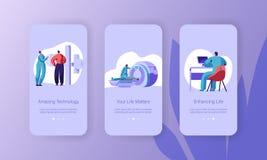 Pagina mobile del App di idea diagnostica paziente online a bordo dell'insieme dello schermo Tecnologia di sanità Il dottore Expl illustrazione vettoriale