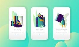 Pagina mobile del App del libro elettronico dell'università moderna online della biblioteca a bordo dell'insieme dello schermo Le illustrazione vettoriale