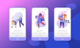 Pagina mobile di compera del App del deposito di vendita della donna a bordo dell'insieme dello schermo Sconto di commercio elett illustrazione vettoriale