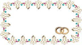 Pagina nel vettore dei cuori sotto forma di pietre preziose ed oro, rubini e zaffiri e fedi nuziali dell'oro, Fotografia Stock Libera da Diritti