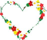 Pagina nella forma di cuore fatta dei fiori Immagine Stock