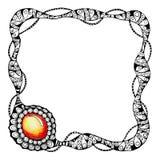 Pagina nella tecnica grafica con l'immagine di un braccialetto e di una pietra preziosa Per progettazione del fondo, modelli illustrazione vettoriale