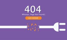Pagina 404 non trovata Tagli il cavo con l'incavo Fotografia Stock Libera da Diritti