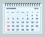 Pagina novembre 2018 blu sul fondo della mandala illustrazione vettoriale