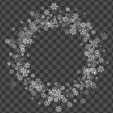Pagina o confine dei fiocchi di neve casuali dello spargimento Fotografia Stock Libera da Diritti