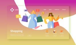 Pagina online di atterraggio di acquisto Caratteri piani della gente con il modello del sito Web dei sacchetti della spesa Facile royalty illustrazione gratis