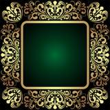 Pagina ornamentale dorata elegante su verde scuro Fotografia Stock Libera da Diritti