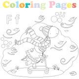 Pagina per i bambini, insieme di alfabeto, lettera F di coloritura illustrazione di stock