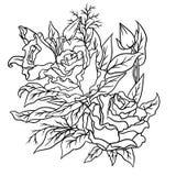Pagina per il libro da colorare Fiori del profilo doodles royalty illustrazione gratis