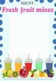 Pagina per il menu con il moktejliami da frutta fresca Illustrazione di vettore illustrazione di stock