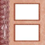 Pagina per la foto due con un merletto. immagine stock