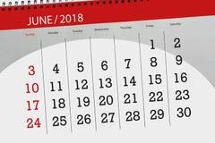 Pagina quotidiana 2018 del calendario di affari giugno Fotografie Stock Libere da Diritti