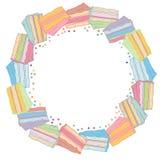 Pagina rotonda dolce con i dolci variopinti illustrazione vettoriale