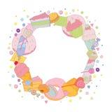 Pagina rotonda dolce con le caramelle variopinte del muffin illustrazione vettoriale