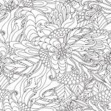 Pagina's voor volwassen kleurend boek Hand getrokken artistiek etnisch sier gevormd bloemenkader in krabbel Stock Afbeeldingen