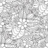 Pagina's voor volwassen kleurend boek Hand getrokken artistiek etnisch sier gevormd bloemenkader in krabbel Stock Afbeelding