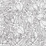 Pagina's voor volwassen kleurend boek Hand getrokken artistiek etnisch sier gevormd bloemenkader in krabbel stock illustratie