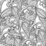 Pagina's voor volwassen kleurend boek Hand getrokken artistiek etnisch sier gevormd bloemenkader in krabbel Stock Foto
