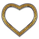 Pagina sotto forma di colore dell'oro del cuore con ombra Fotografia Stock Libera da Diritti