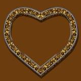 Pagina sotto forma di colore dell'oro del cuore con ombra Immagine Stock Libera da Diritti