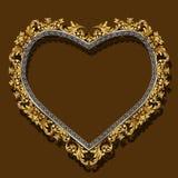 Pagina sotto forma di colore dell'oro del cuore con ombra Fotografie Stock
