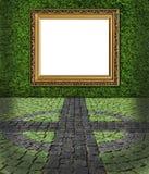 Pagina sul backgroun verniciato verde della parete di pietra Fotografia Stock Libera da Diritti