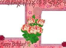 Pagina sul compleanno con le rose. Fotografia Stock