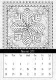 Pagina van het sneeuwvlok de kleurende boek, kalender November 2018 Royalty-vrije Stock Afbeeldingen
