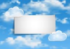Pagina 1 van 8 Model met de blauwe witte wolken van het hemeleind Royalty-vrije Stock Afbeelding