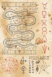 Pagina van zwarte kunstboek met slang Stock Afbeeldingen