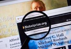 Pagina Web del premio Nobel Immagini Stock