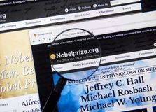 Pagina Web del premio Nobel Fotografia Stock