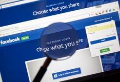 Pagina Web di connessione di Facebook fotografia stock