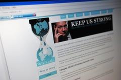 Paginación de Internet principal de Wikileaks.de Fotografía de archivo libre de regalías