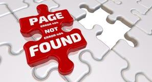 Paginación del error 404 no encontrada La inscripción en el elemento que falta del rompecabezas ilustración del vector