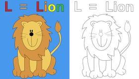 Paginación del libro de colorante del león Fotografía de archivo