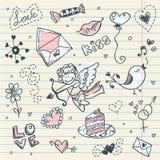 Paginación del libro de recuerdos del día de tarjeta del día de San Valentín del Doodle Imagenes de archivo