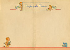 Paginación del libro del bebé de la vendimia imagen de archivo