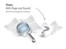 Paginación 404 no encontrada   Imagenes de archivo