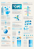 Paginación de Infographics con muchos elementos del diseño Imágenes de archivo libres de regalías