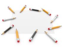 Paginación y lápiz. ilustración 3D. Aislado Imagenes de archivo