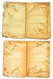 Paginaciones abiertas del libro de Grunge Fotografía de archivo