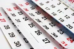Paginaciones del calendario fotografía de archivo