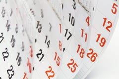 Paginaciones del calendario Fotos de archivo libres de regalías