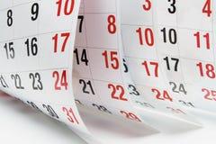Paginaciones del calendario Foto de archivo